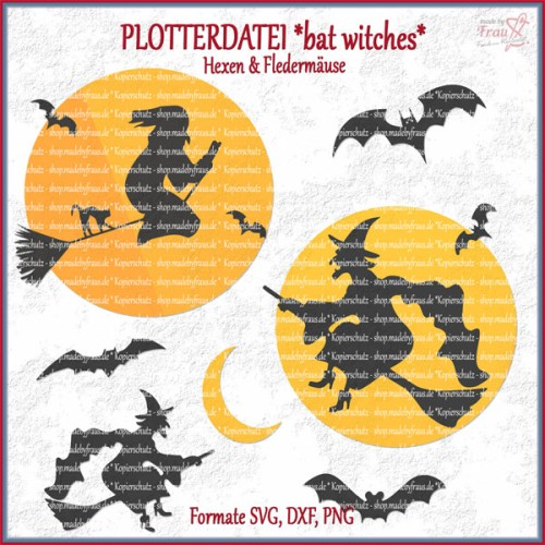 bat witches *Plotterdatei - Hexen & Fledermäuse