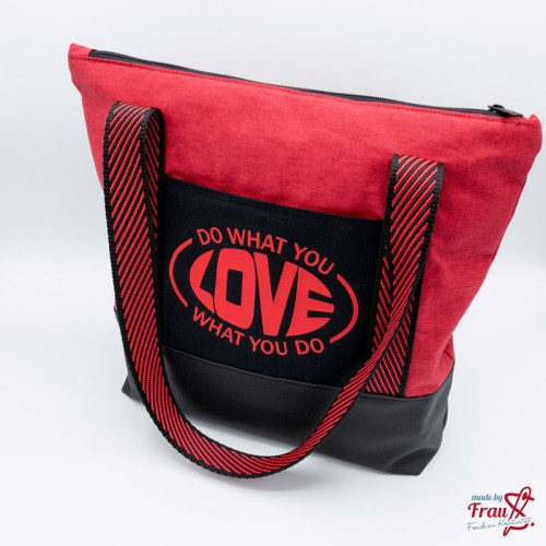Handtasche - rot schwarz -  Do what you love