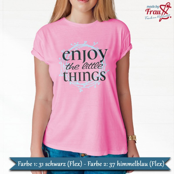 enjoy the little things - shirt hellblau schwarz