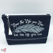 Kosmetiktasche Jeans - love the life - Feder
